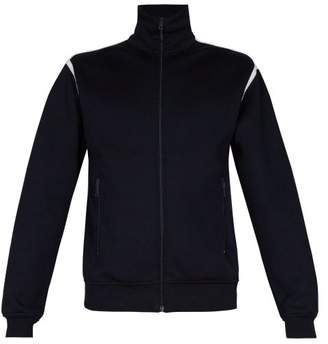 Prada - Contrast Trim Cotton Blend Zip Through Track Top - Mens - Dark Navy