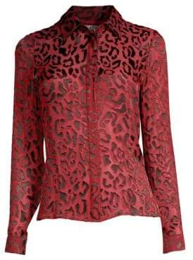 Alice + Olivia Willa Placket Leopard Print Blouse