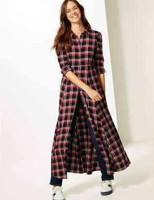 Marks and Spencer Checked Long Sleeve Shirt Maxi Dress