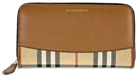 Burberry Elmore Horseferry Check and Leather Zip-Around Wallet - Tan