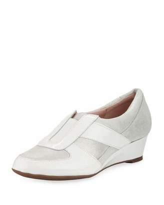 Taryn Rose Pooms Metallic Low Wedge Traveler Shoe $155 thestylecure.com