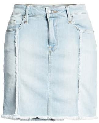 Good American The Mini Distressed Seams Denim Miniskirt