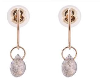 Melissa Joy Manning Gold Labradorite Hoop Drop Earrings