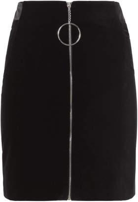 Thierry Mugler Zip Detail Velvet Mini Skirt