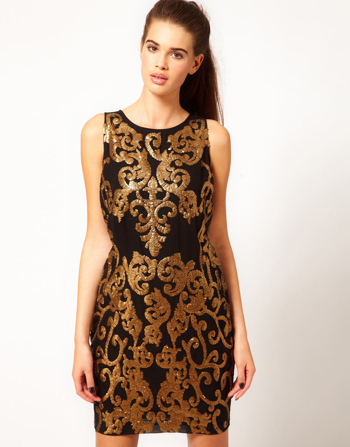 River Island Gold Sequin Shift Dress