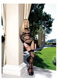 Leg Avenue Women's 2 Piece Opaque Sheer Criss Cross Long Sleeve Teddy, Black, One Size