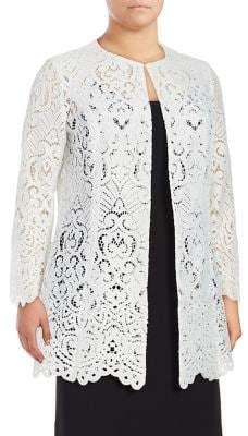 Tahari Arthur S. Levine Plus Scalloped Lace Topper Jacket