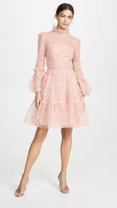 Costarellos Ruffled Lace Dress