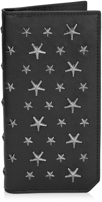Jimmy Choo COOPER Black Biker Leather with Stars Large Bi-Fold Wallet