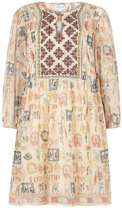 Velvet by Graham & Spencer Tawni Sand Embellished Chiffon Mini Dress