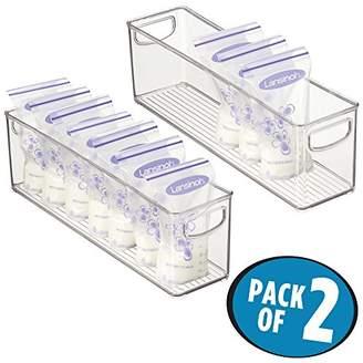 mDesign Baby Food Kitchen Refrigerator Cabinet or Pantry Storage Organizer Bin with Handles for Breast Milk