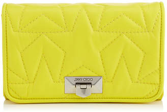 Jimmy Choo HELIA CLUTCH Fluorescent Yellow Star Matelasse Nappa Leather Clutch with Chain Strap