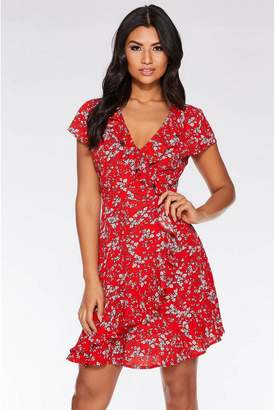 Quiz Red And White Floral Print Cap Sleeve Frill Dress