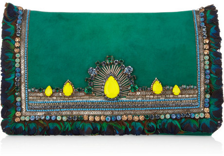 Matthew Williamson Swarovski crystal-embellished suede clutch