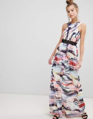 Little Mistress Abstract Print Maxi Dress