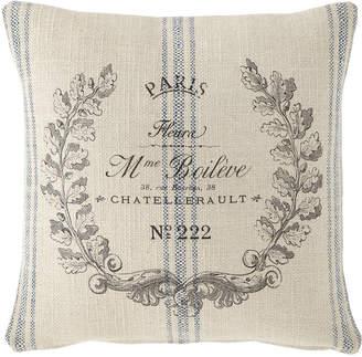 French Laundry Home Marine Stripe Paris Crest Pillow