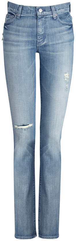 Seven for all Mankind Blue High Waisted Straight Leg Jeans