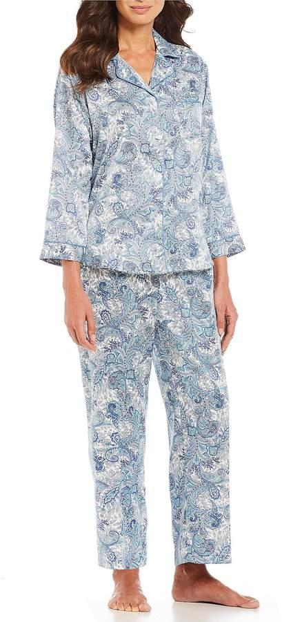 Miss Elaine Petite Paisley-Print Brushed-Back Satin Pajama Set