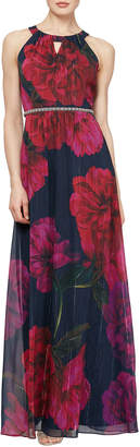Slny Halter Neck Metallic Floral Print Maxi Dress