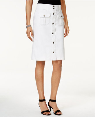 Style & Co Denim Button-Front Skirt, Only at Macy's $49.50 thestylecure.com
