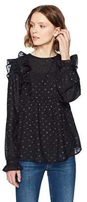 Ella Moon Women's Elaina Ruffled Bib Clip Dot Long Sleeve Top