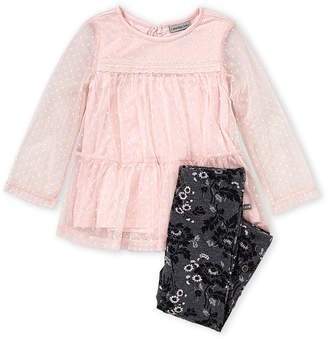 Calvin Klein Toddler Girls) Two-Piece Swiss Dot Mesh Top & Floral Leggings Set