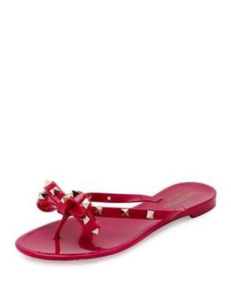 Valentino Rockstud PVC Flat Thong Sandal, Deep Cyclamen $295 thestylecure.com