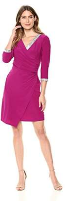 MSK Women's Ruched Cocktail Dress with Rhinestone Neck and Cuff Trim