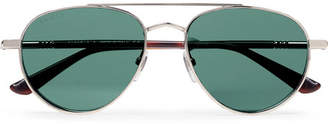 Gucci Aviator-Style Silver-Tone and Tortoiseshell Acetate Sunglasses - Silver