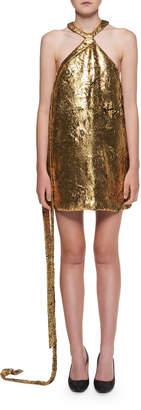 Halpern Halter-Neck Golden Foil Georgette Mini Dress