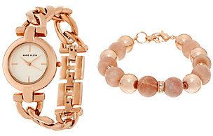 Anne KleinAnne Klein Rosetone Watch Watch and Pink Bead Bracelet Set