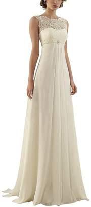 Fannybrides Women's Sleeveless Lace Up Long Chiffon Bridal Gown Wedding Dresses