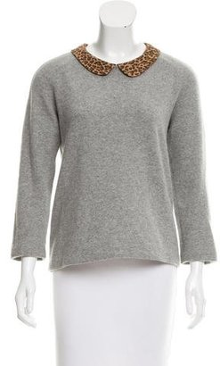 Sandro Wool Leopard Print-Accented Sweater $80 thestylecure.com