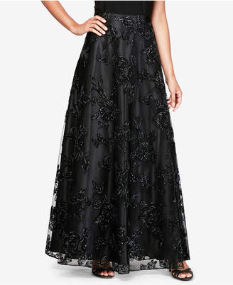 Alex Evenings Flocked A-Line Skirt