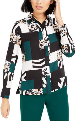 Bar III Printed Button-Up Blouse