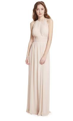 Paige Samantha Shirred Front Keyhole Back, Halter Neckline Dress,Champagne