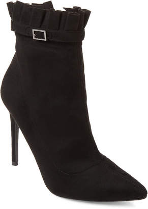 Wild Diva Lounge Black Giselle Ruffle Ankle Booties