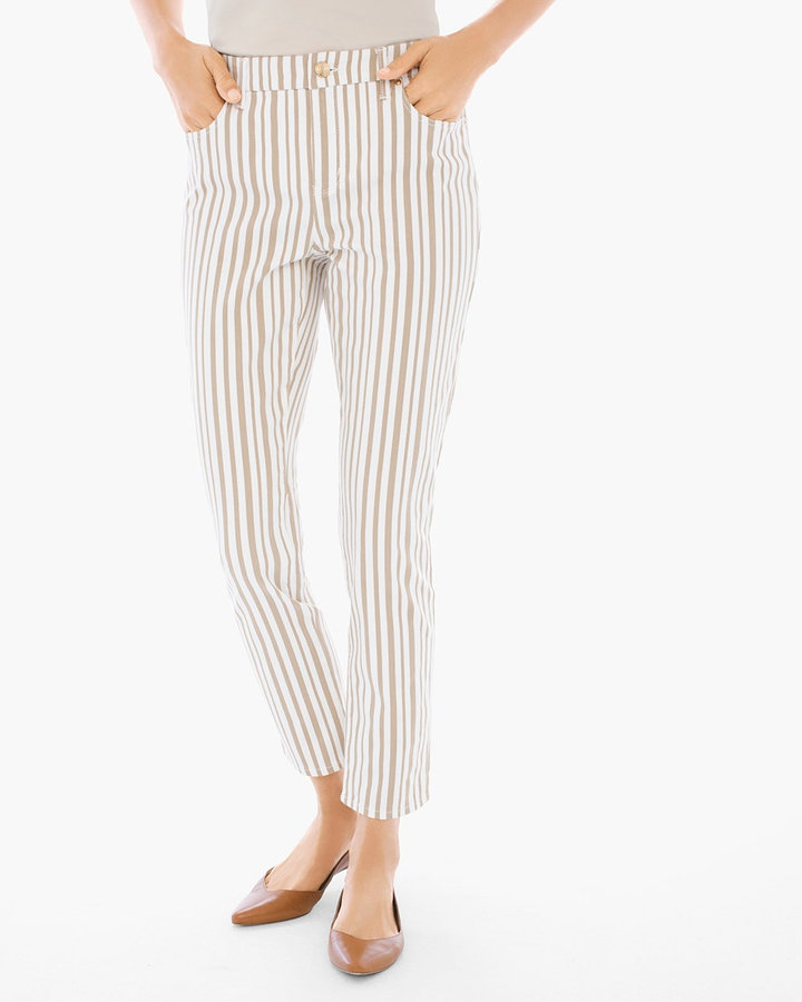 Chico's Striped Girlfriend Ankle Jeans