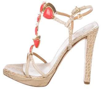 Christian Dior Embossed Leather Sandals