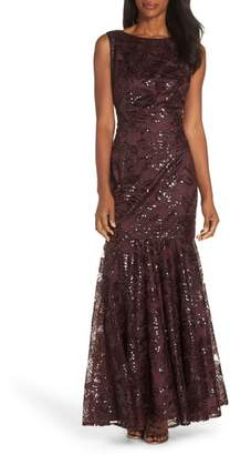 Vince Camuto Embroidered Sequin Gown