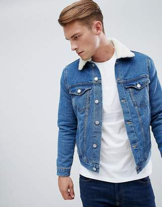 New Look fleece lined denim jacket in blue