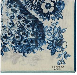 Penrose London PENROSE LONDON MEN'S KINVER.A PEACOCK PRINT COTTON-SILK POCKET SQUARE