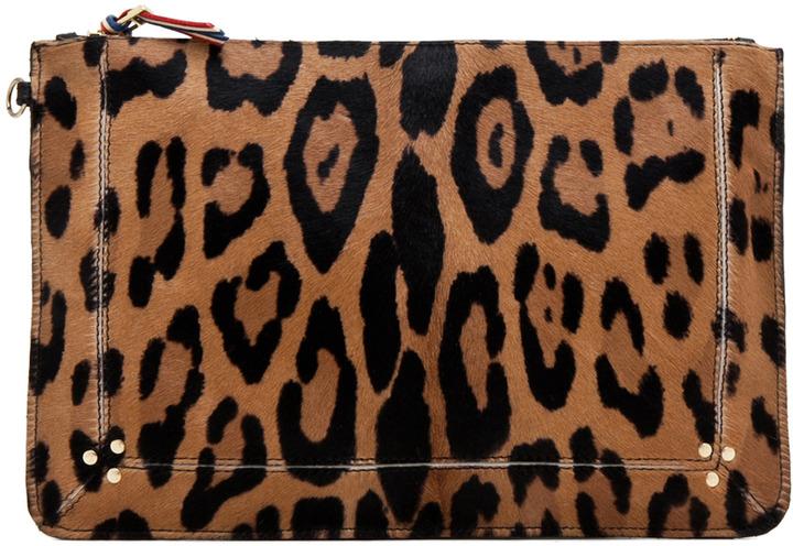 Jerome Dreyfuss Large Zip Clutch in Leopard & Multi