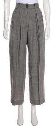 Karl Lagerfeld Paris Virgin Wool High-Rise Pants White Virgin Wool High-Rise Pants