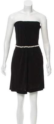 Chanel Faux Pearl-Trimmed Strapless Dress