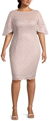 Adrianna Papell Plus Lace Sheath Dress