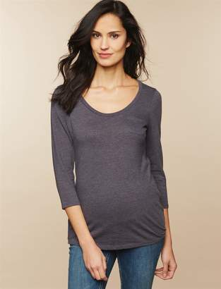 Motherhood Maternity 3/4 Sleeve Pocket Tee Maternity T Shirt
