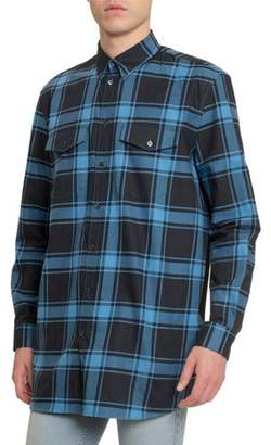 Givenchy Men's Plaid Classic Sport Shirt w/ Tape Back