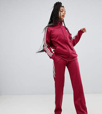 adidas Three Stripe Wide Leg Track Pants In Ruby