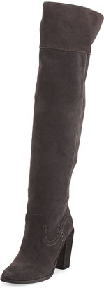 Dolce Vita Orene Suede Over-The-Knee Boot, Anthracite $219 thestylecure.com
